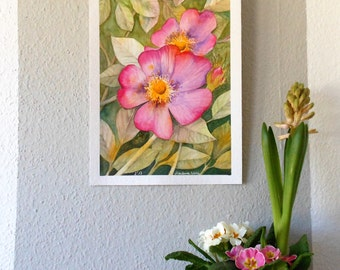 "Original Watercolor ""Wild Roses"""