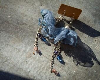 Blue organza earrings, ballerina earrings, dangle earrings, beautiful earrings, prom night, bridesmaid earrings, gift earrings, gift jewelry