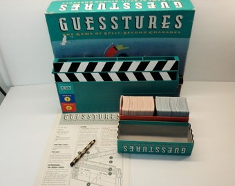 Guesstures The Game of Split-Second Charades by Milton Bradley 1990 90's Vintage Family Game Complete