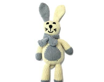 Cashmere Rabbit for Babies + Little Ones-Handmade Baby Gift. Made at a Women's Center,Nepal-Proceeds support education for Nepali children.