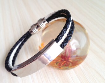 Braided Leather Bracelet Black White Mens Womens Gifts