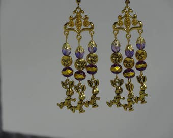 Gold and purple chandelier dancing kung fu thai chi moon easter bunny rabbit chandelier earrings