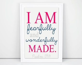 """Printable Art """"I am Fearfully and Wonderfully Made"""" Printable Art, Wall Prints, Nursery Wall Art, Bible Verse Printables, Scripture Decor"""