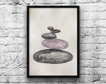 Zen zen stone watercolor-original artwork-zen stones-pebbles art-handmade Khadi paper-A4 size-original gift