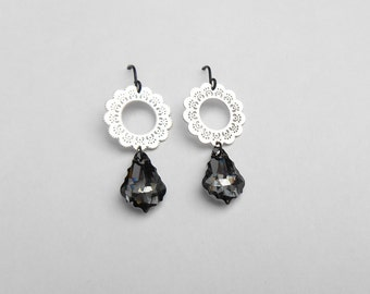 Dangle drop earrings, Black crystal earrings, Geometric earrings