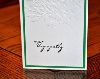 Sympathy Card with Embossed Tree - Green
