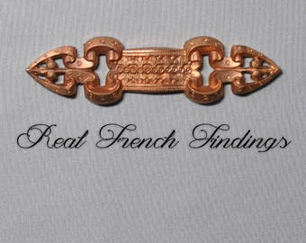 Vintage French Bar Pin Finding Medieval Style Thick Raw Brass Die Casting 1 Piece 339J