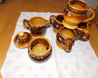 Sale Reduction:... Special Summer price..........   Seton Coffee set. In brown / tan. Coffee for 4 ?