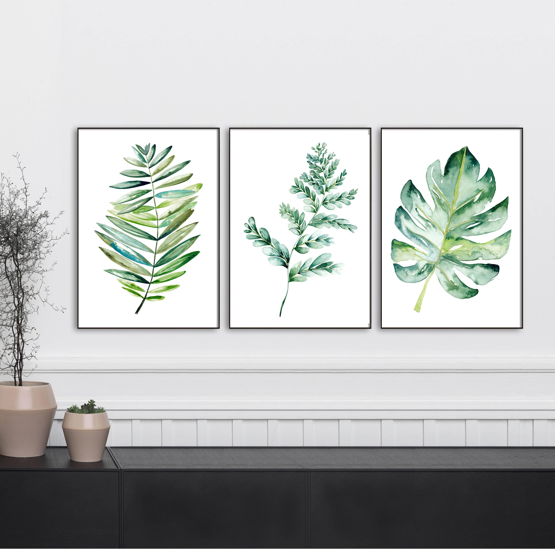Botanical print sets of leaf art watercolor kitchen art set for Kitchen set new leaf