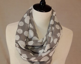 Grey Chiffon Scarf (Grey and Cream Circle Print Scarves in Two Available Styles)