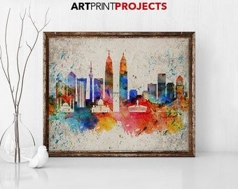 Kuala Lumpur print Kuala Lumpur poster Kuala Lumpur skyline wall art, travel decor, home decor, travel gift, watercolor, ArtPrintProjects