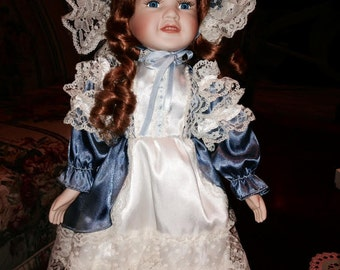 Victorian Porcelain Doll - White and Slate Blue Gown