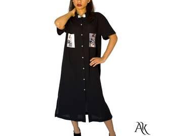 Oversized Black Shirt - Cotton Shirt - Casual Black Shirt - Extra Long Shirt - Black Shirt Dress by Anna Karinna