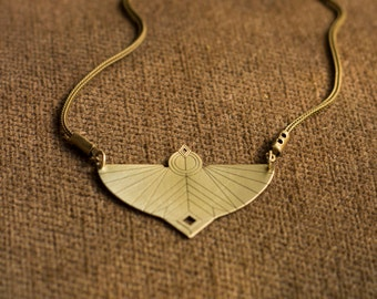 LAYLA NECKLACE\\ Statement Necklace\\ Brass Pendant