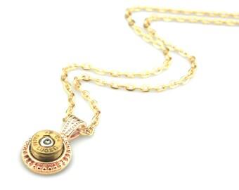 Gold Bullet Necklace - 9 mm Luger Pendant - Sniper Pendant - Military Pendant - 9mm Bullet Pendant - Gun Ammo Pendant