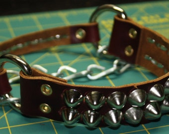 Burgundy Cone-Studded Leather Boot Belt