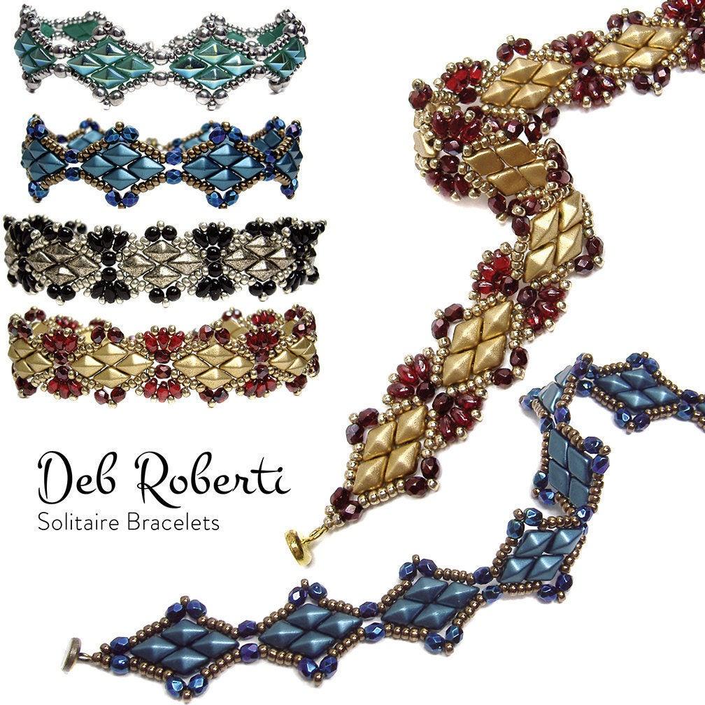 Beaded Diamond: Solitaire Bracelets Beaded Pattern Tutorial By Deb Roberti