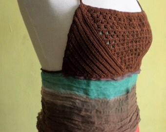 Brown Crochet Top w/ Up-Cycled Scarf