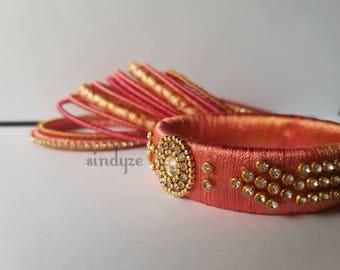 Customizable Peach and Gold Thread Bangle Set
