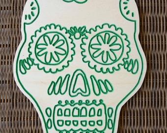 Green Wooden Skull