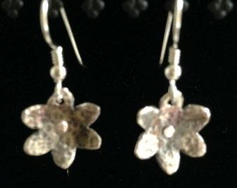Flower Dangle Earrings // Sterling Silver with Hammer Texture // Rivet Center