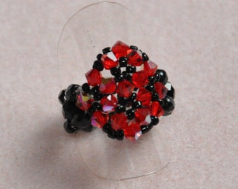 Snowflake ring red & Black