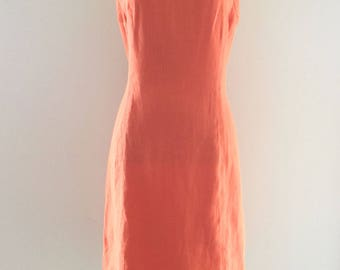 Vintage Irish Linen Sleeveless Shift Dress // Talbots // Orange  // Size 10