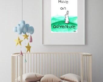 "Rabbit illustration nursery art print//baby shower//baby gift//nursery decor//nursery wall art//woodland nursery/""have an adventure"""