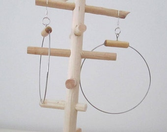 Earrings wood and steel wire