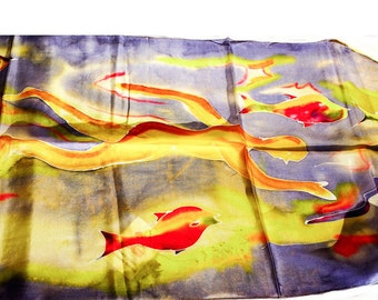 "Hand painted silk scarf-""the swimmer"""