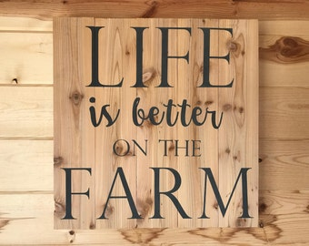 Life is better on the Farm Decorative Wood Sign Wall Hanging Farmhouse Decor