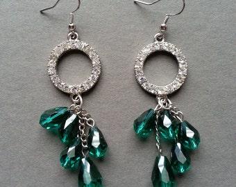 Rhinestone & Teal Crystal Earrings