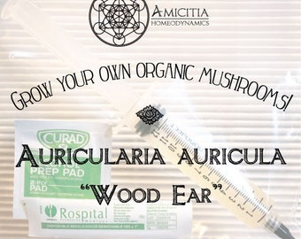 "LIVE Mycelium Liquid Culture, Auricularia Auricula ""Wood Ear"" Edible and Medicinal 10 ml"