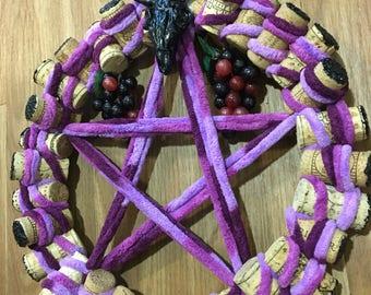 Pentagram wine cork wreath
