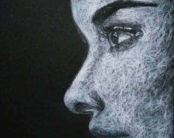 White Pencil Drawing on Black Paper of Audrey Hepburn