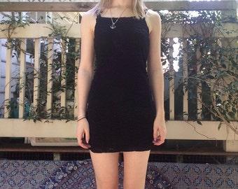 Black Floral Lace Slip Dress