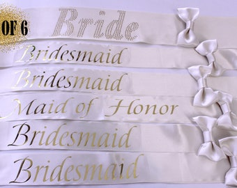 6 Bachelorette Sashes, Bridesmaid Sashes, Bachelorette party, Set of 6 sashes, Gold Bridesmaid Sashes, Bridesmaids, Maid of Honor, Bride