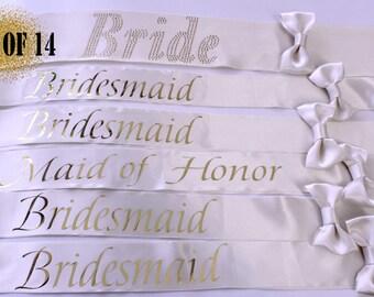 14 Bridesmaid sashes, 14 Team Bride sashes, 14 Bachelorette sashes, Bachelorette party, Wedding sash, Bridesmaid sash, Bride sash, Set of 14