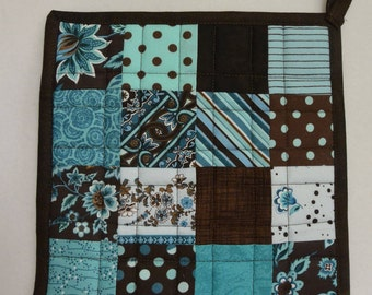 Turquoise and Chocolate Potholders