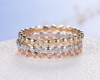 Bezel Set Diamond Ring Stacking Ring Set Diamond White Gold Wedding Band Rose Gold Yellow Gold Eternity Ring Dainty Minimalist Beaded Simple