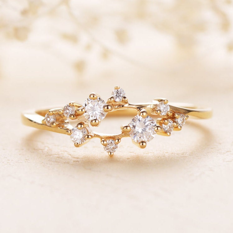 Diamond cluster ring twig engagement ring floral unique for Cluster wedding rings