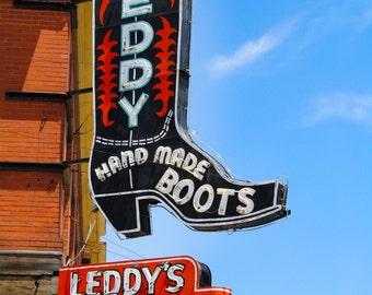 Leddy's Handmade Boots, Fort Worth, Texas, Fine Art Matte Print, Texas Photography, Country Decor