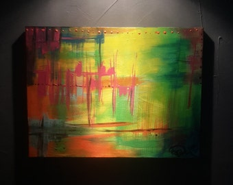 Heat wave - Table abstract acrylic painting