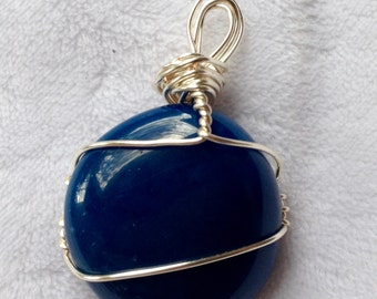 Blue Onyx, crystal, silver wire wrapped, bamboo cord