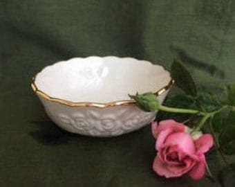Vintage Lenox Rose Blossom Bowl,Lenox,Candy Dish,Nut Dish,Trinket Dish,Serving Bowl,Embossed Rose Blossom Bowl,Jewelry Bowl,Bath Accent Dish