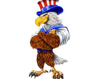 Proud Bald Eagle, Uncle Sam Eagle, USA Sticker, Bald Eagle car decal, USA window decal, American bald eagle, USA sticker, politico sticker