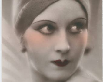 Art Deco Vixen | Metropolis Minx | Helmet Turban Cloche | Hand Tinted 1930's Postcard | Tangerine Rouge | Bow Lips |