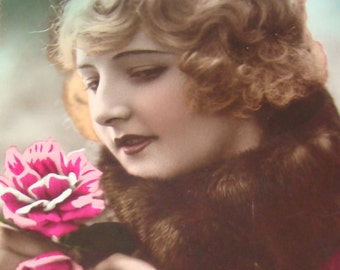 2 Hand Tinted Vintage Pretty Lady Postcards