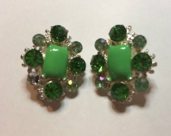 Green and Diamante Clip on costume Vintage Earrings