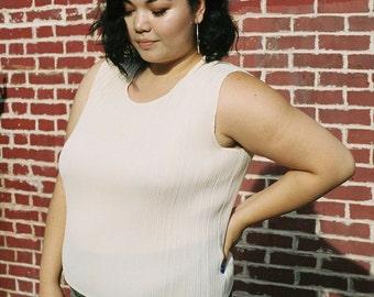 Cream 'Issey Miyake Pleats Please' Inspired Pleated Sleeveless Box Blouse